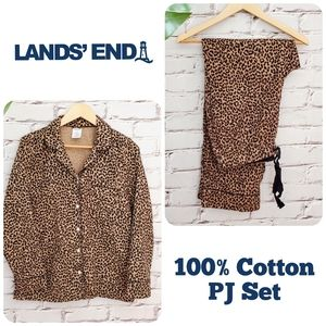 Land's End Flannel 100% Cotton Leopard Print PJs